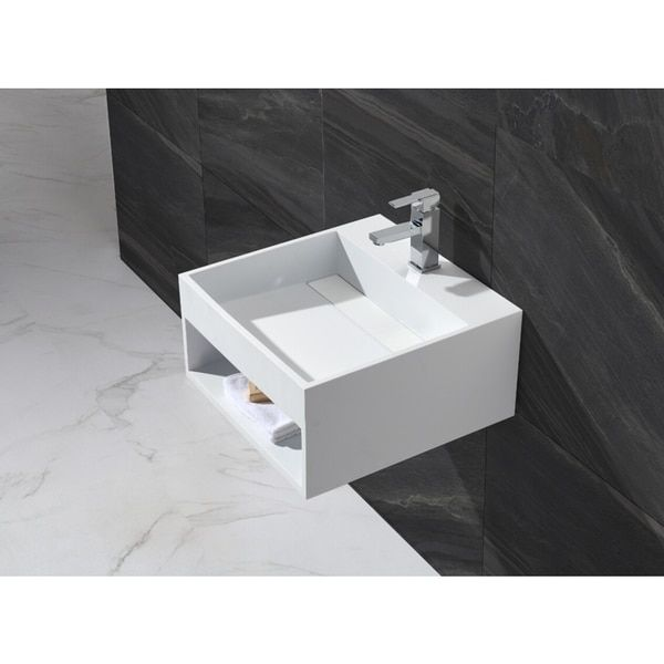 20 Inch Stone Resin Solid Surface Square Shape Bathroom Wall Mount Sink