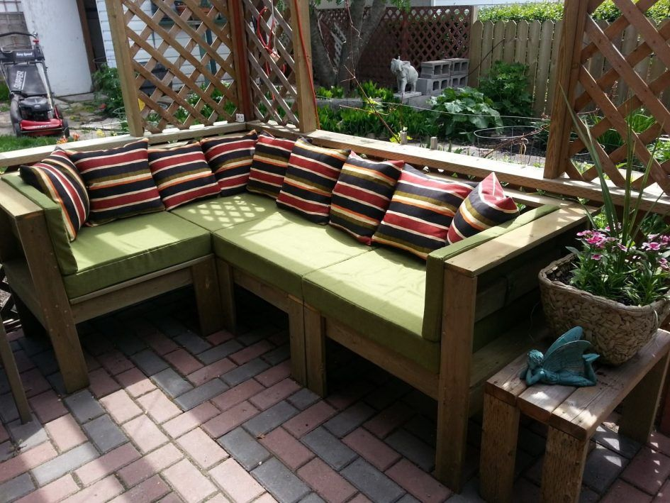Furniture Make Your Own Rustic Outdoor Patio With Green Cushions Design Light Brown Diy L Shape