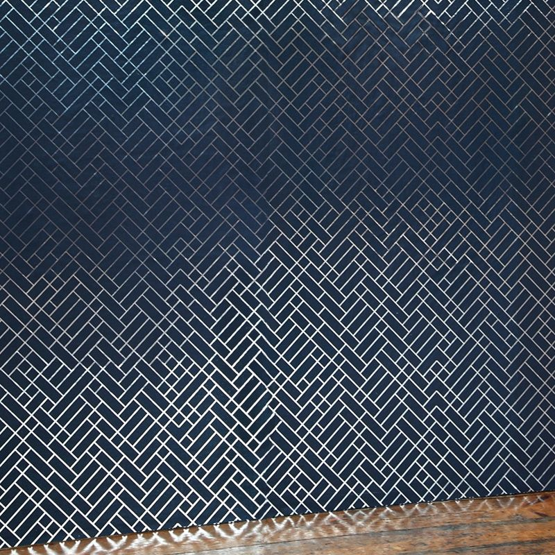 Tapet Cafe Tile Navy Silver Wallpaper