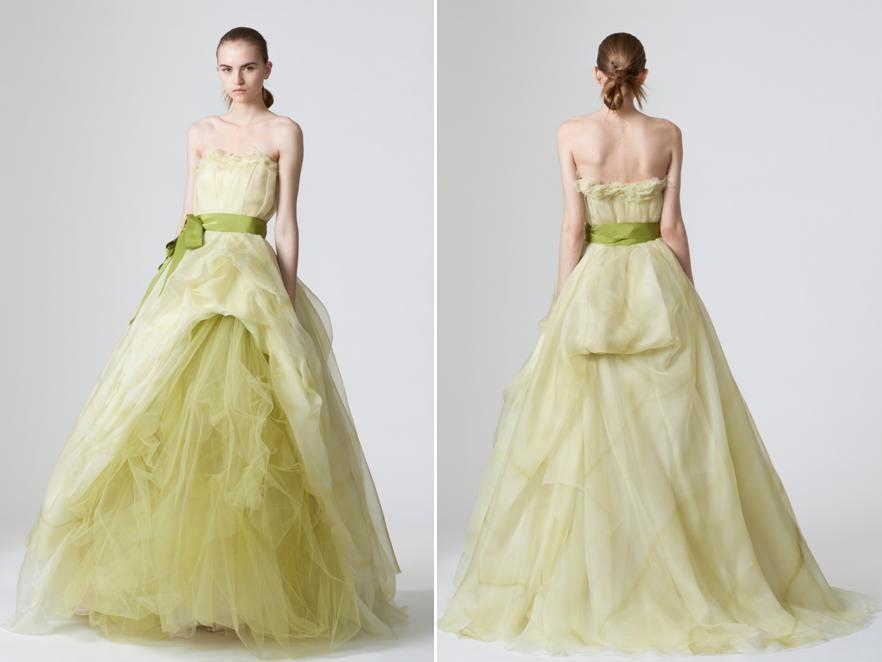Vera Wang Light Pea Green A-Line Wedding Dress | Someone else\'s ...