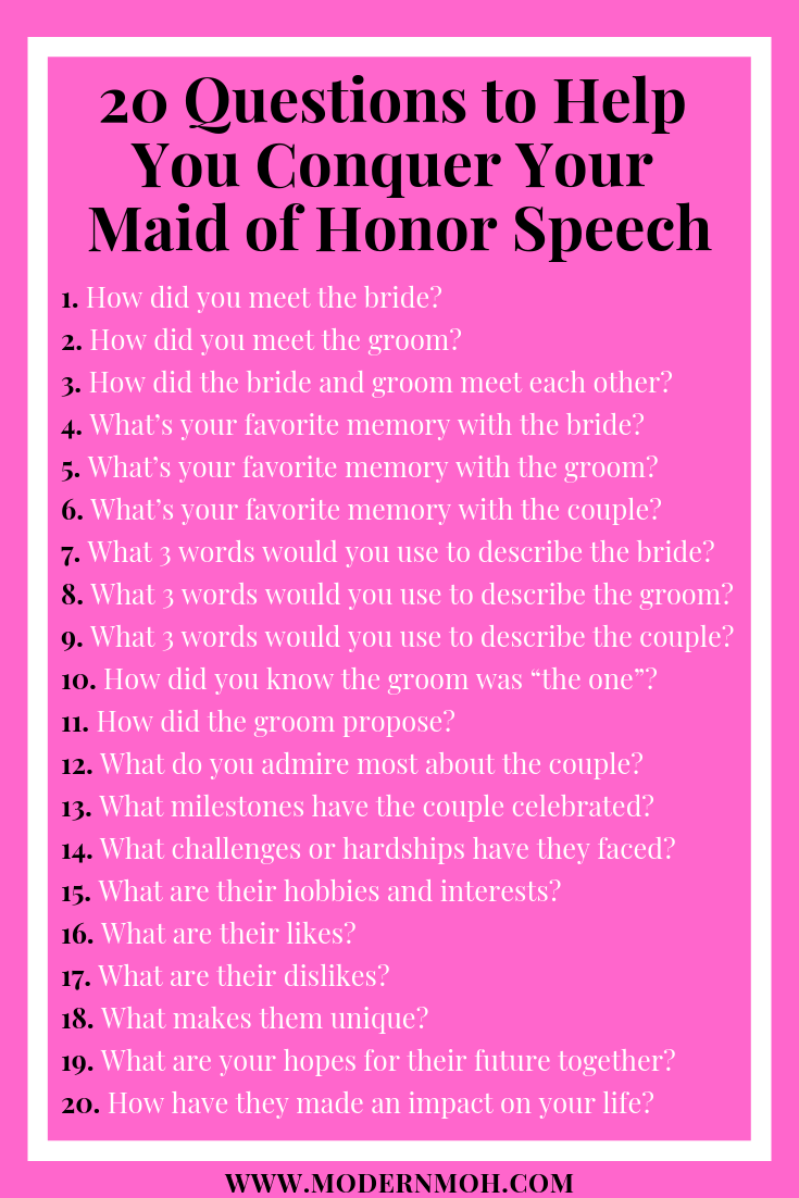 20 Questions to Help You Conquer Your Maid of Honor Speech