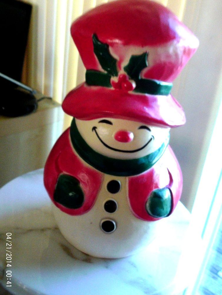 Rare vtg lighted outdoor snowman w/ birdhouse blow mold antique - outdoor snowman christmas decorations