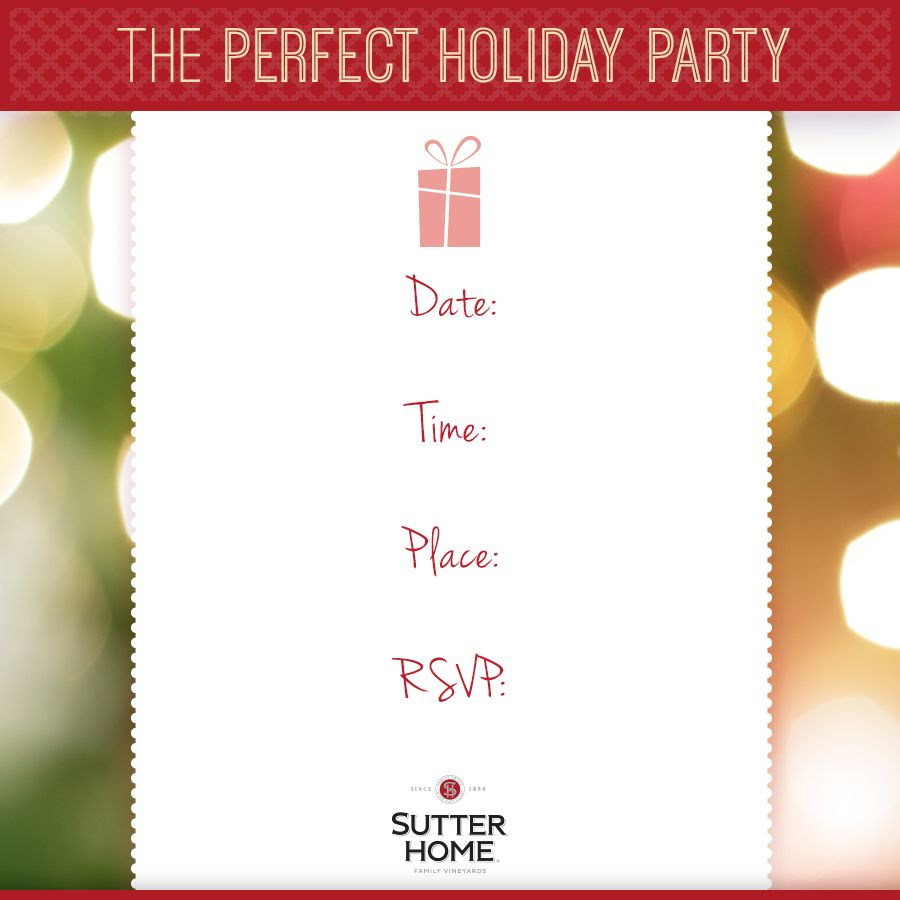 The holiday party season is underway! Print out this chic party invite, personalize it and send to all your friends. Host your favorite friends for wine, food and good times.