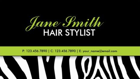 Zebra print modern bright green stylish hair stylist and salon zebra print modern bright green stylish hair stylist and salon business cards http reheart Gallery