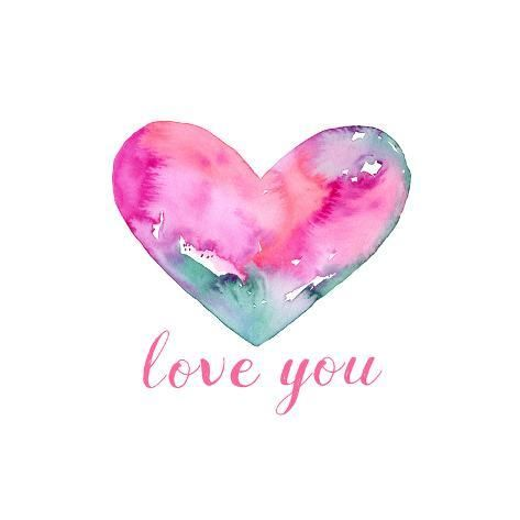 size: 16x16in Art Print: Big Pink Heart - Love You by Elise Engh :