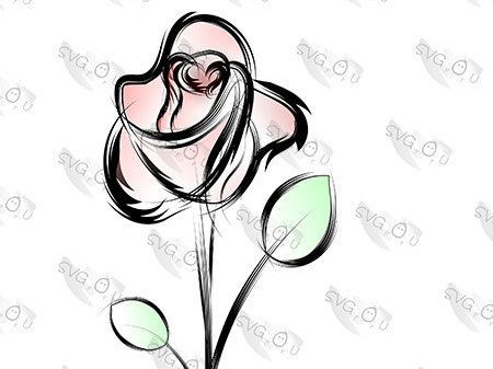 Line Art Rose Flower : Vector vignette with rose and scorpion in black white colors