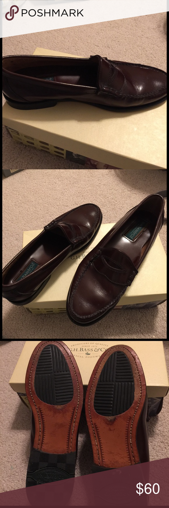Bass penny loafers - burgundy Husband wore once to wedding and refused to wear them again. Like new. See pic of bottom for wear. Very shiny. Bass Shoes Loafers & Slip-Ons