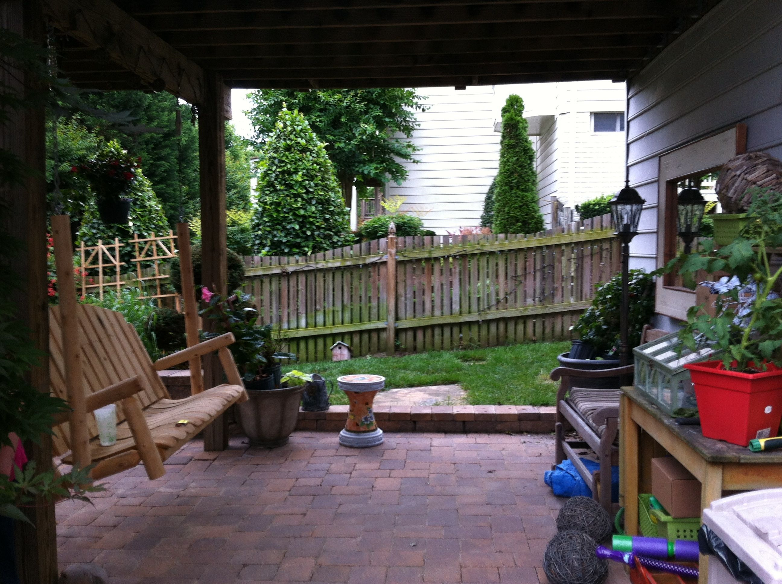 sitting area under deck swing and glider deck renovations