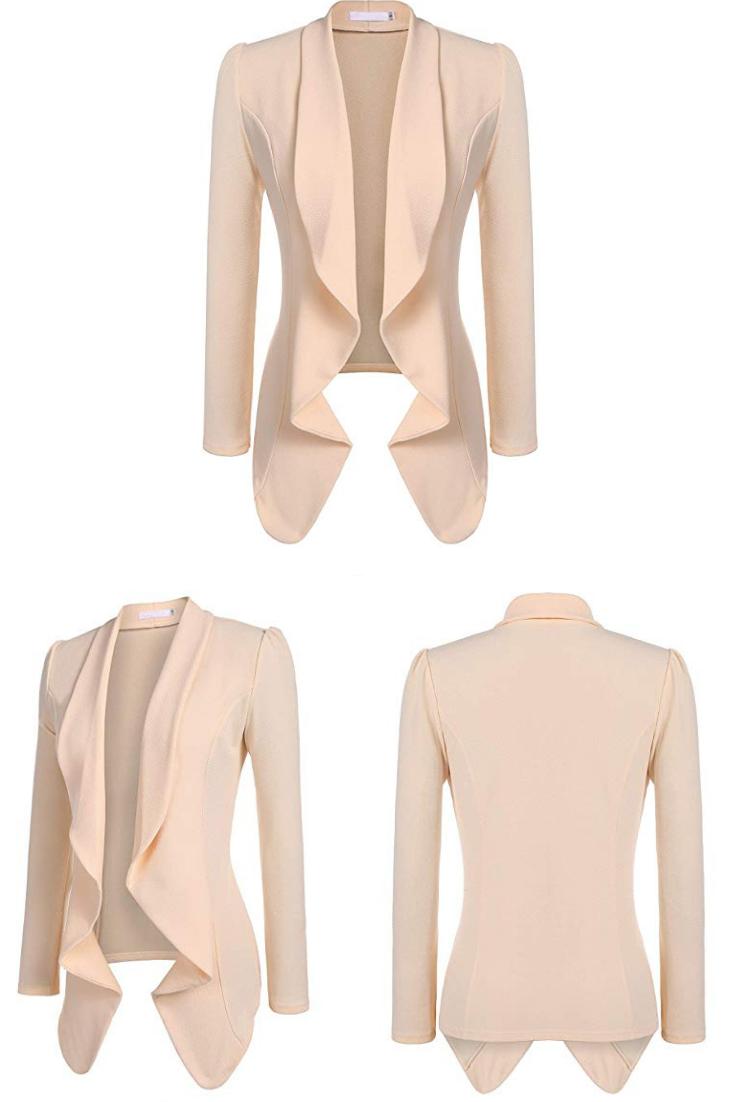 Beyove Classic Draped Open Front Blazer for Women Work Office Blazer Jacket S-XXL
