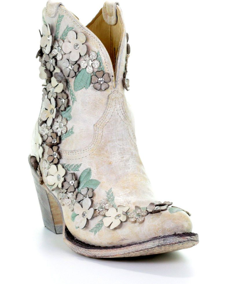 5a72449327c Corral Women's White Floral Overlay Booties - Round Toe in 2019 ...