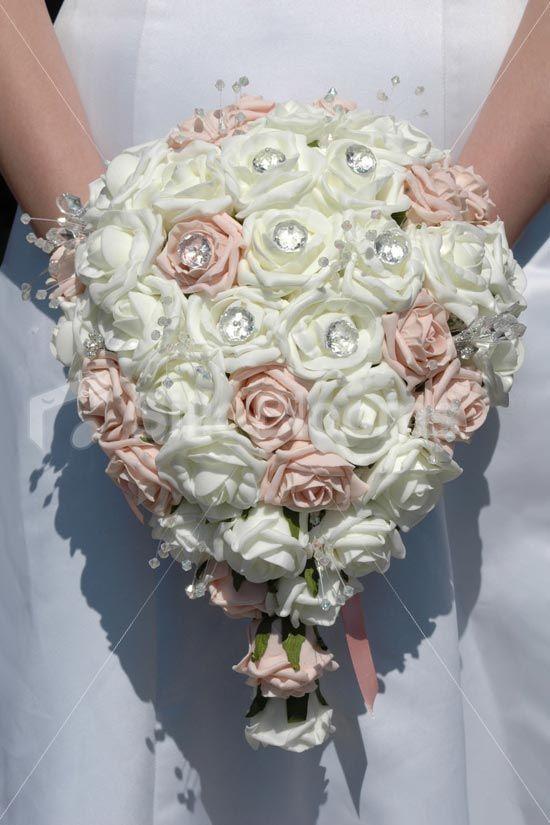 Light pink ivory rose bridal bouquet w crystal pins sprays daphne bride mightylinksfo