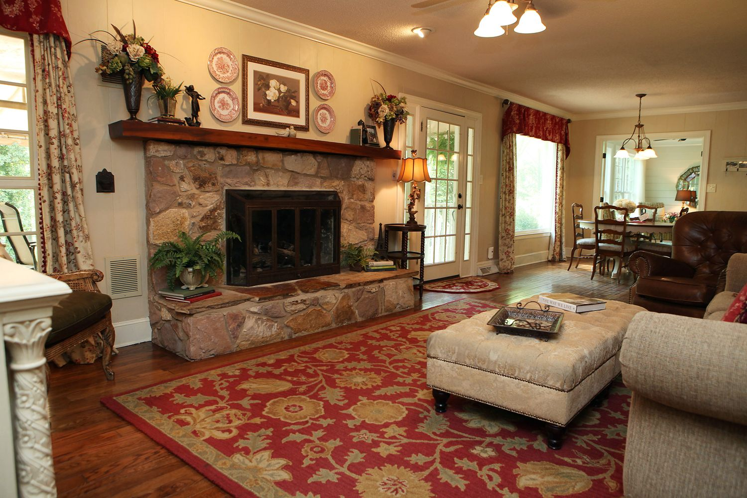 Great Room In Our Farm House Real Stone Fireplace And