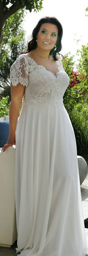 Scarlett, plus size boho wedding gown with short sleeves and beaded lace. STUDIO LEVANA 2018