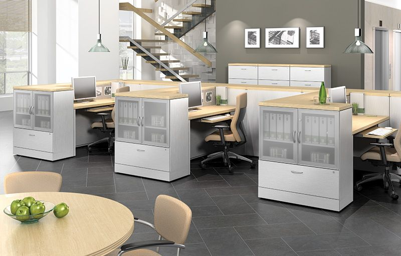 open office cubicles. open office plan with low wall cubicles