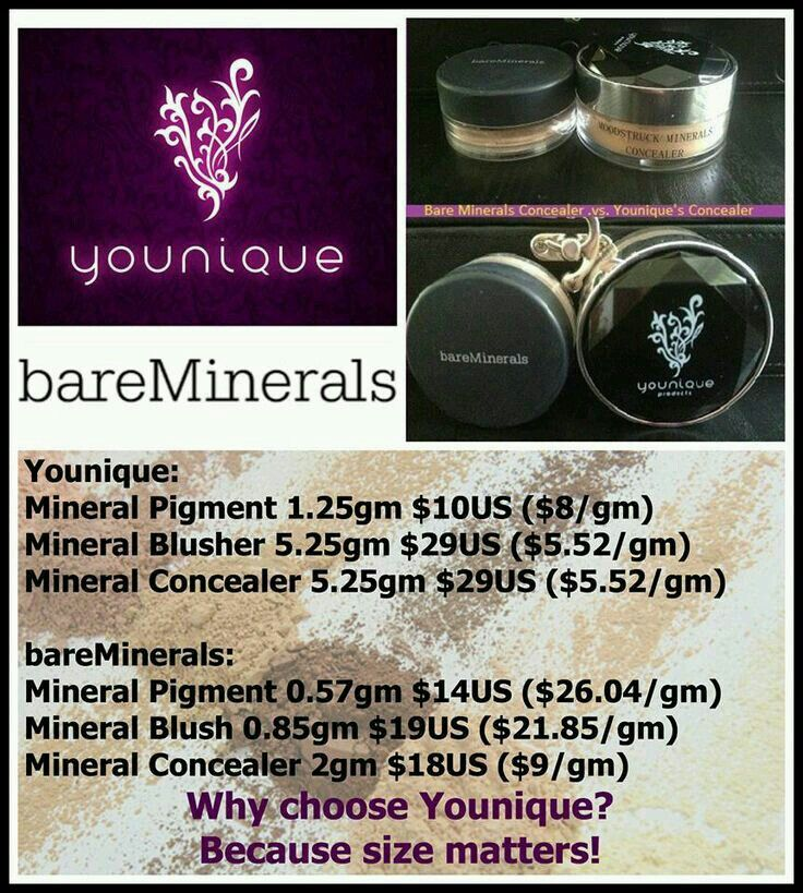 Younique Mineral Makeup vs. Bare Minerals. More makeup for your money. Youniqueproducts.com/selinacasares