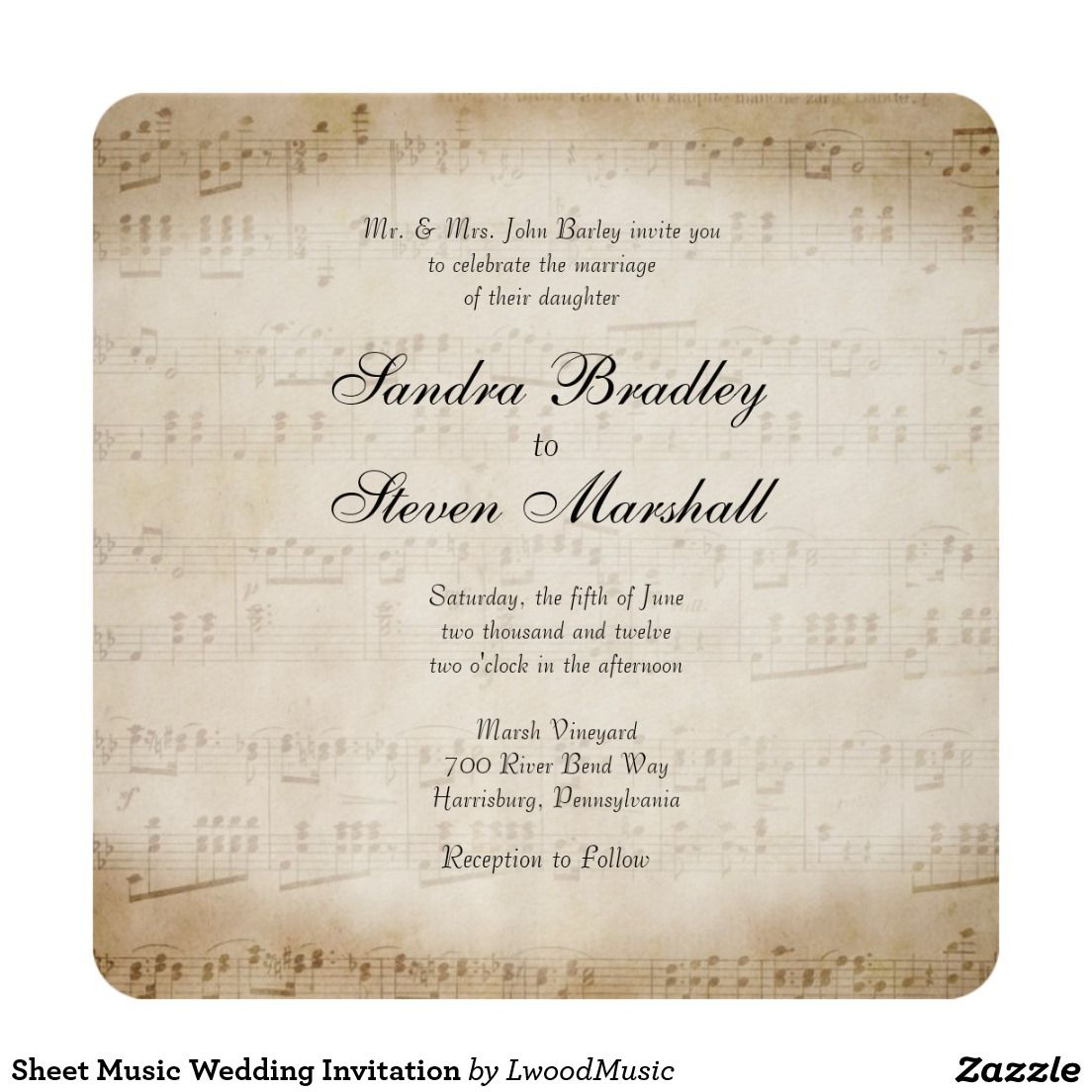 Sheet Music Wedding Invitation | Wedding | Pinterest | Music wedding ...
