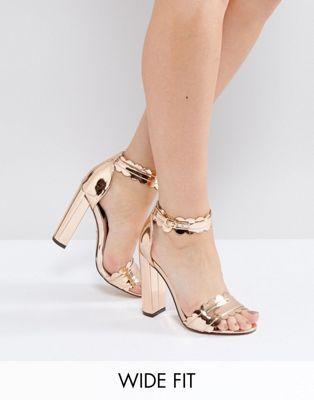 ab4904c8b2c Lost Ink Wide Fit Rose Gold Heeled Sandals Rose Gold Block Heels