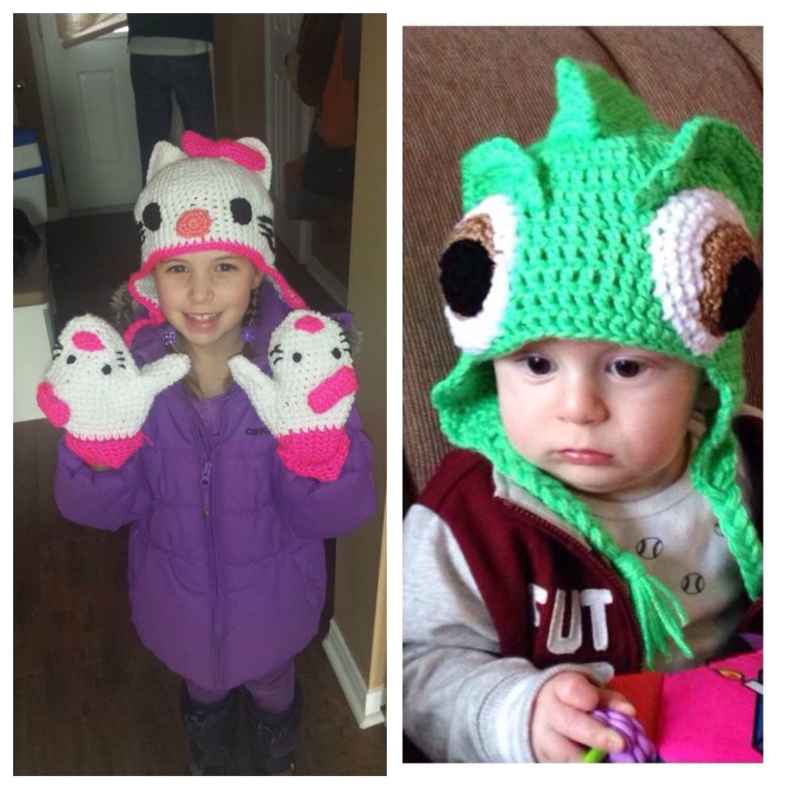 On The Left My Niece And The 1st Hello Kitty Hat I Made