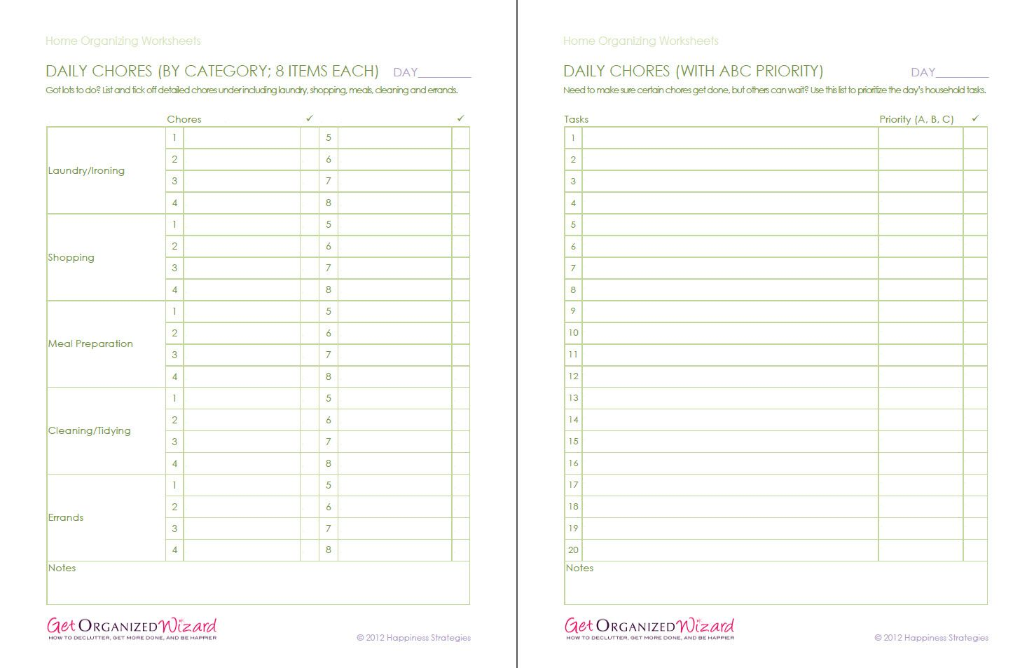 Home Organization Worksheets