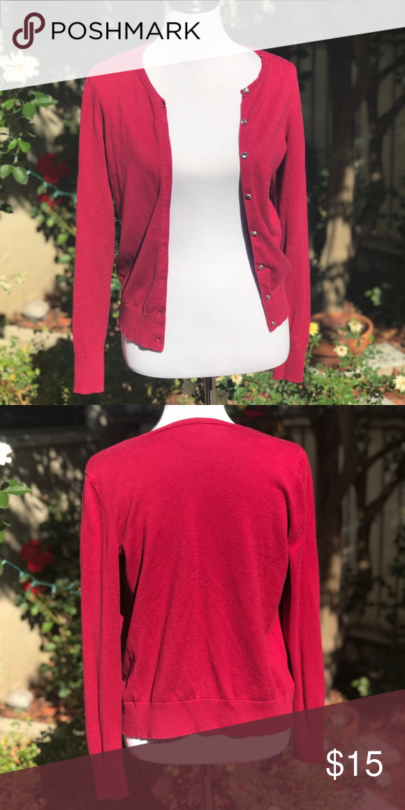 79cf65bc25d7 Loft Raspberry Cardigan w Round Rhinestone Buttons Loft raspberry cardigan. Long  sleeve w Rhinestone round buttons. Great color for fall and winter to dress  ...