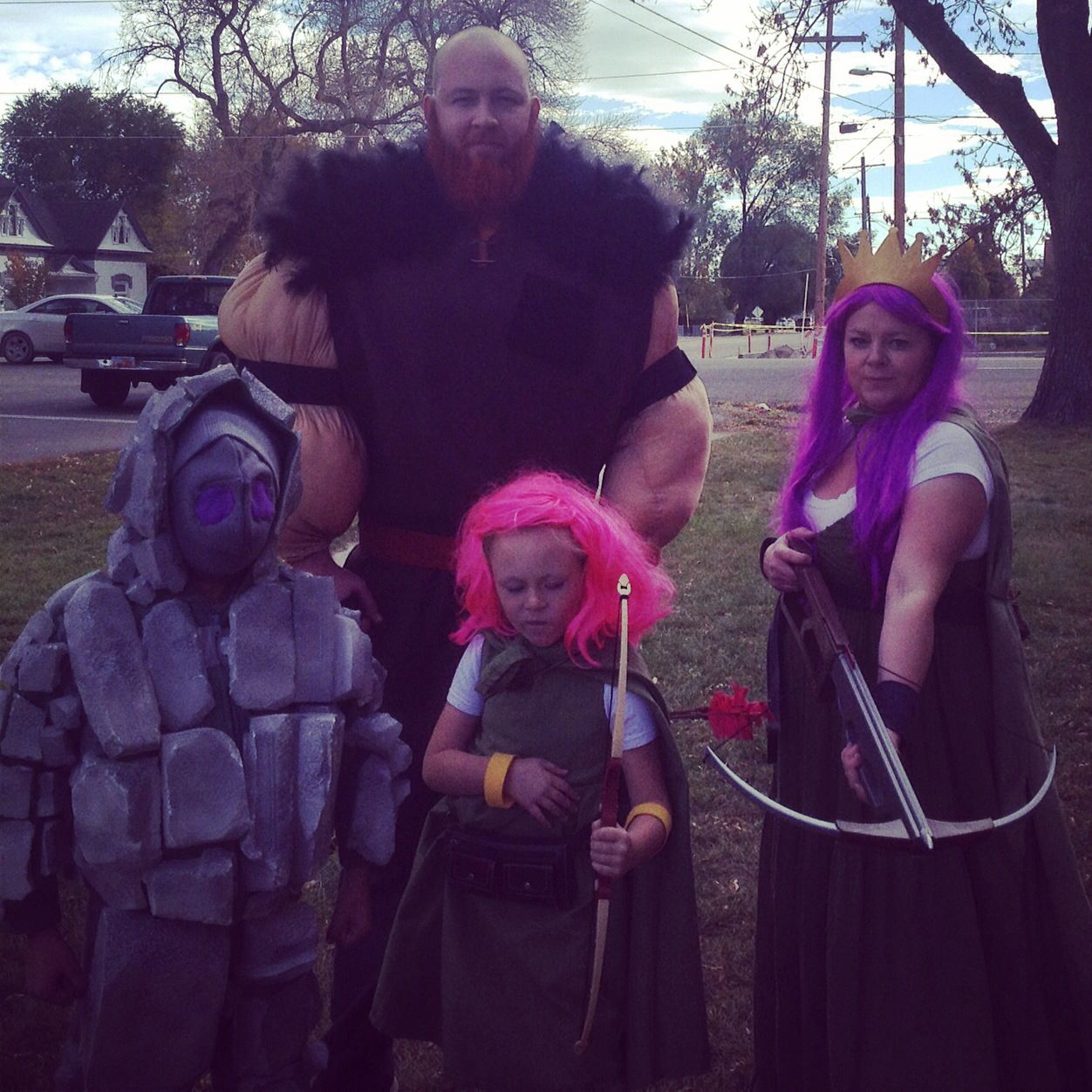 Our clash of clans Halloween costumes! Archer, archer queen, golem and a giant! Made them all myself this year!