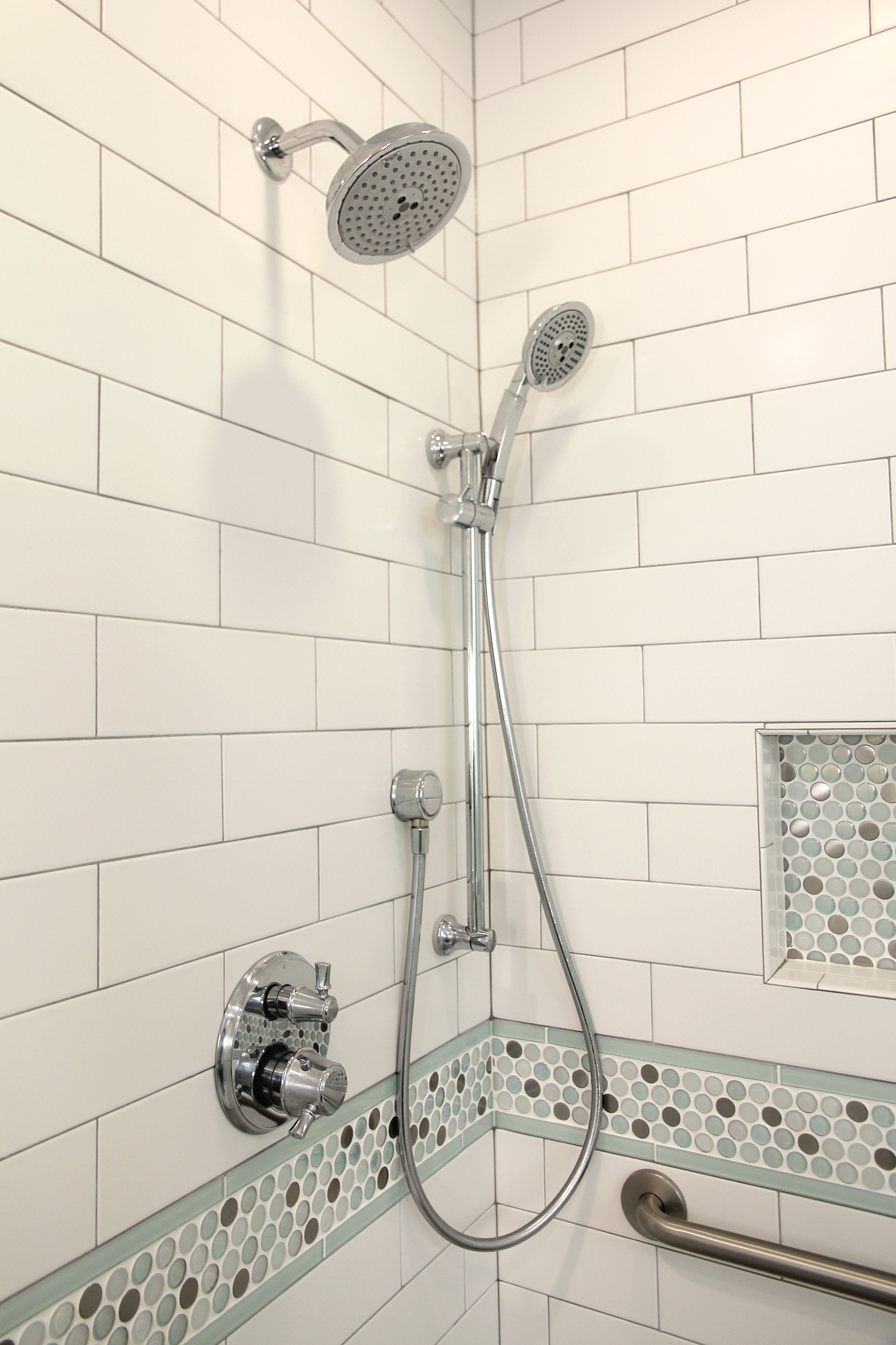 incorporating 3 different tiles: white subway, mosaic penny tile ...