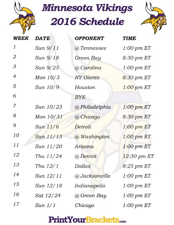picture about Minnesota Vikings Printable Schedule titled Printable Minnesota Vikings Agenda - 2016 Soccer Year
