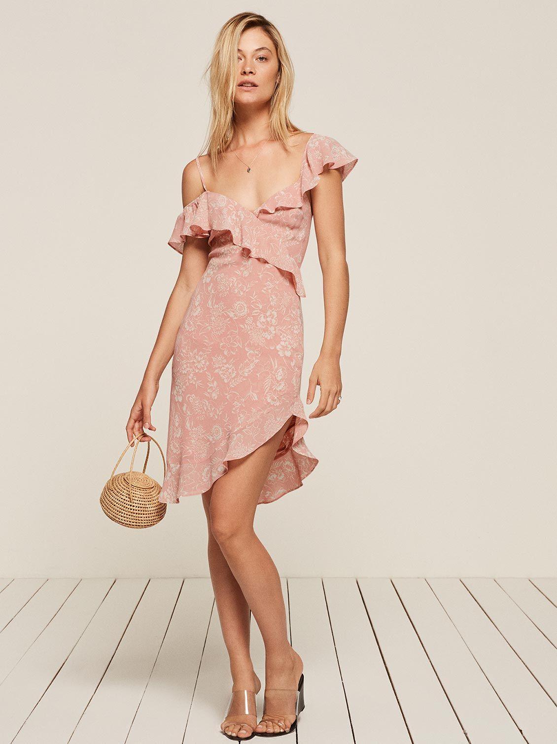 e5c448e9632a Adora pink one shoulder ruffle dress Reformation | For me | Dresses ...