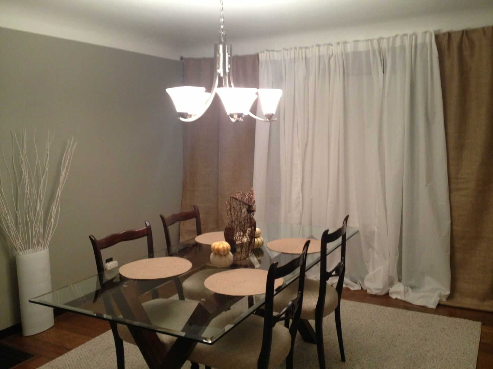 Our Dining Room With My Homemade Burlap Curtains I Purchased