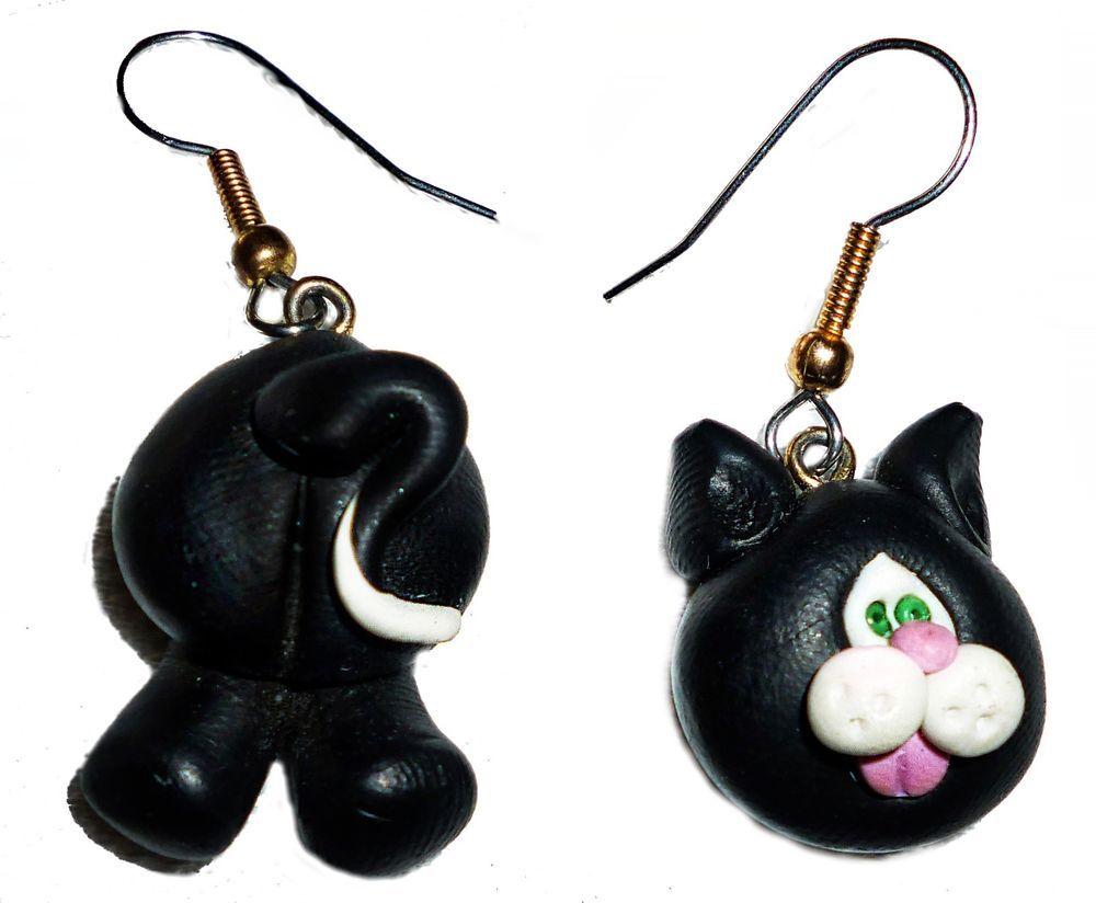 BLACK/WHITE CAT FACE-BUTT EARRINGS-FEMO CLAY PIERCED ADORABLE HANDMADE GREEN I'S #Handmade