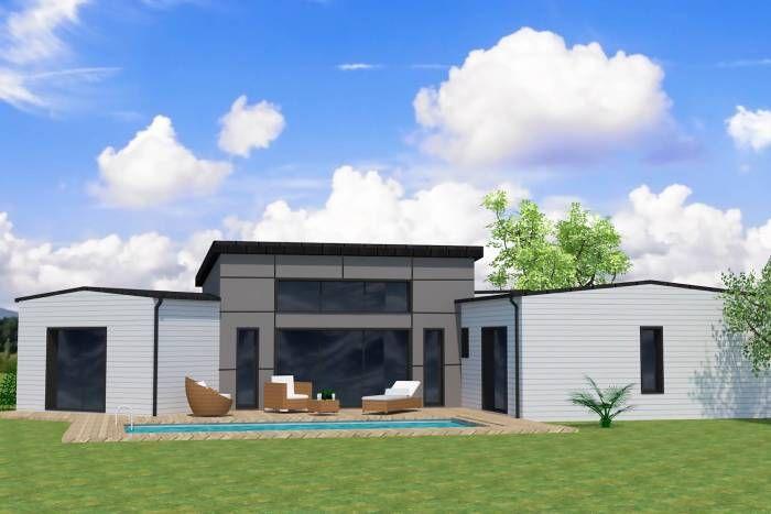 maison moderne bardage gris toit plat bac acier. Black Bedroom Furniture Sets. Home Design Ideas