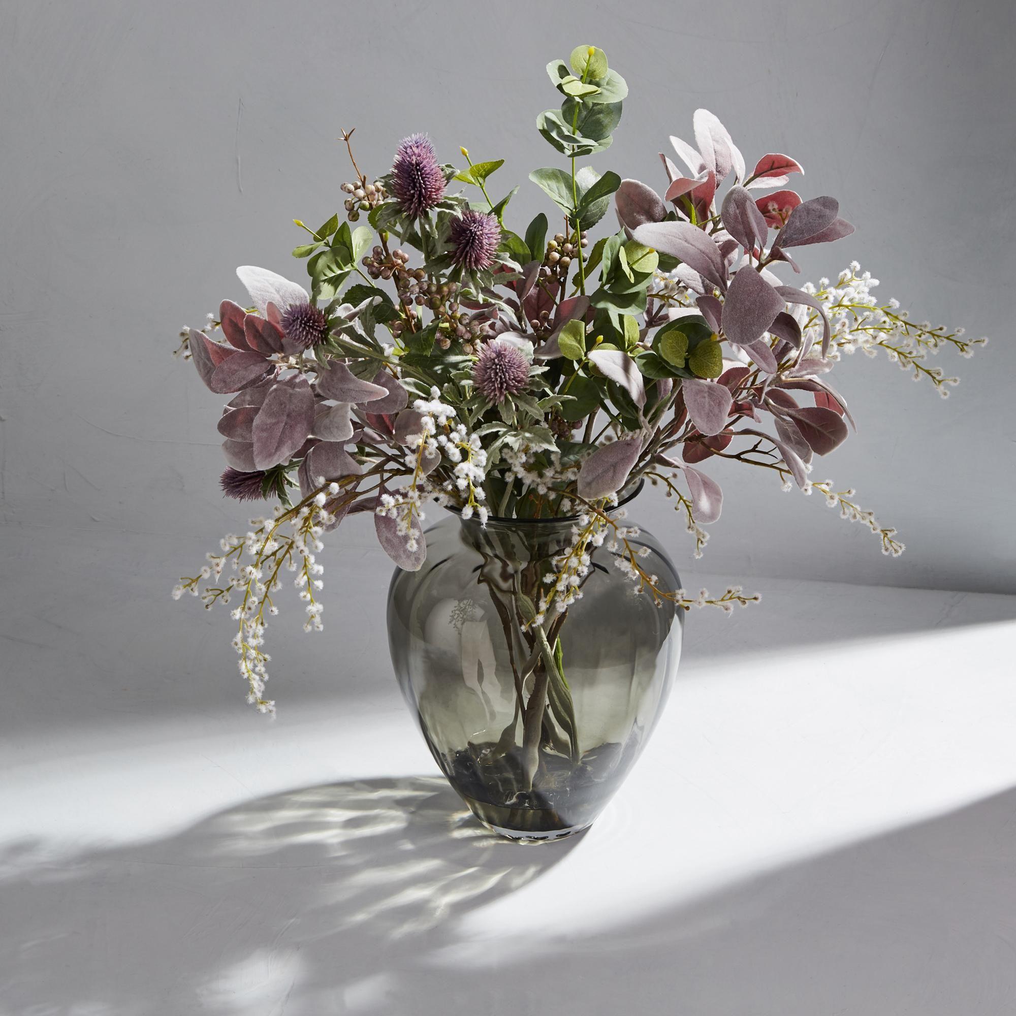 Dorma Floral Clear Lambs Ear And Thistle Arrangement Artificial Flower Arrangements Artificial Bouquet Vase