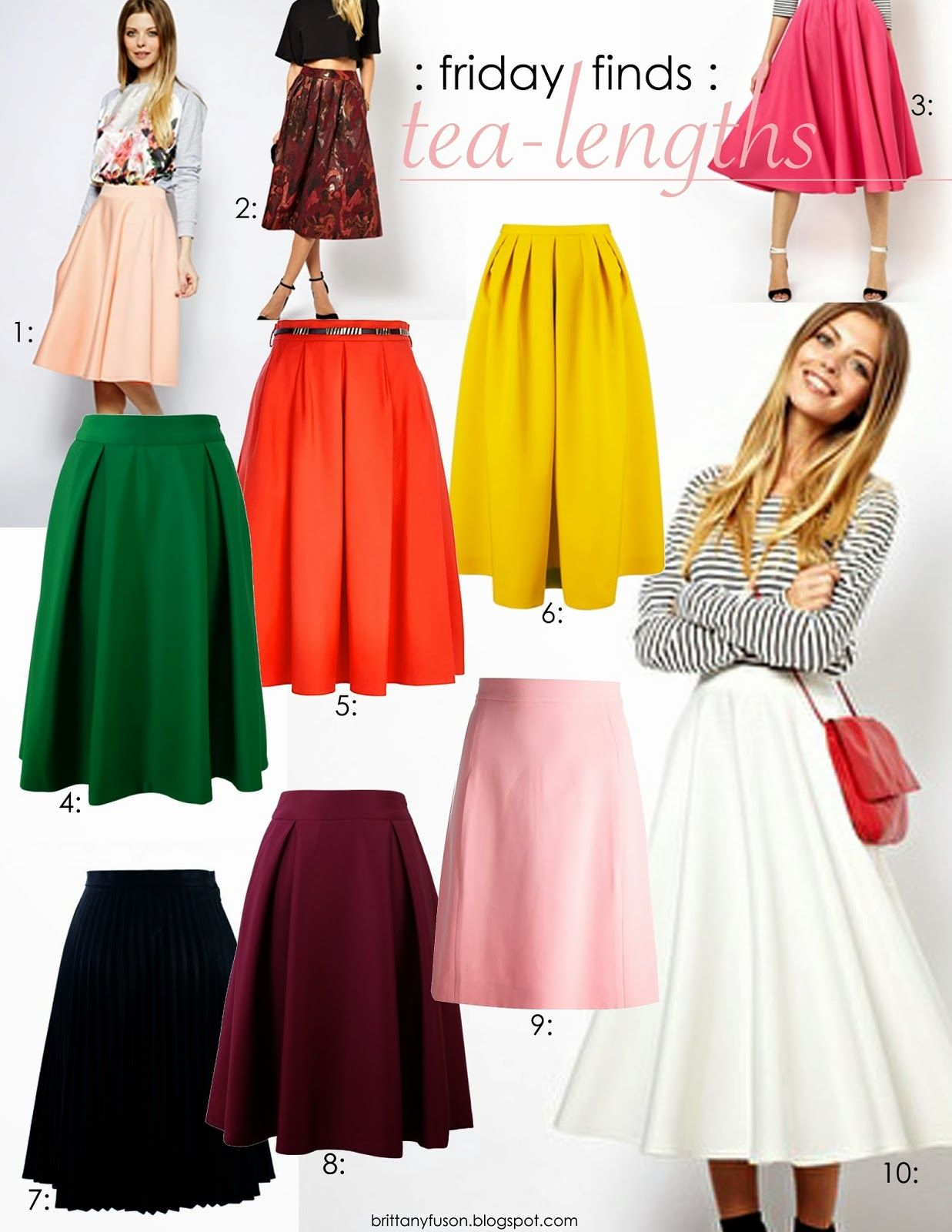 9ad846a1386 Tea length skirts are ladylike and sweet.