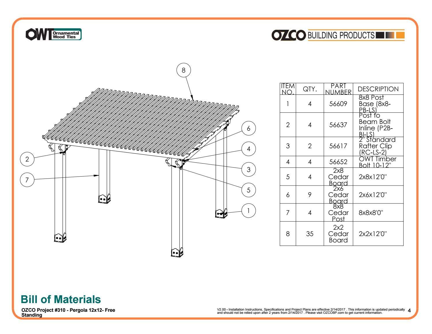 OZCO Project Pergola Cedar Patio – Free Standing Project #310