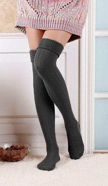 eb10f2f8cc3 High Grey Knitted Socks - Skinny High Grey Knitted Socks via   lovelyclusters.  knit  highsocks