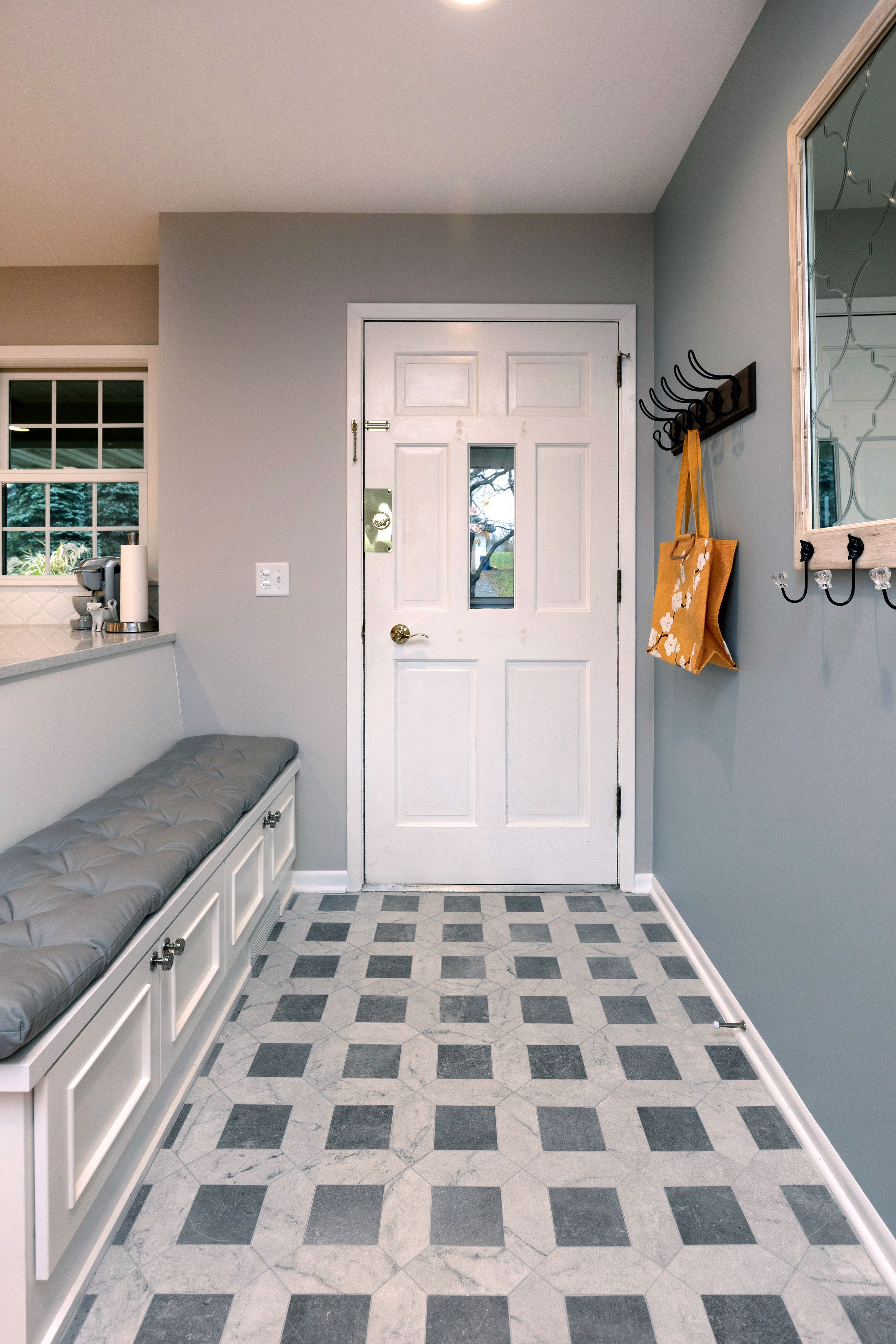 Foyer Tile Floor And Custom Bench