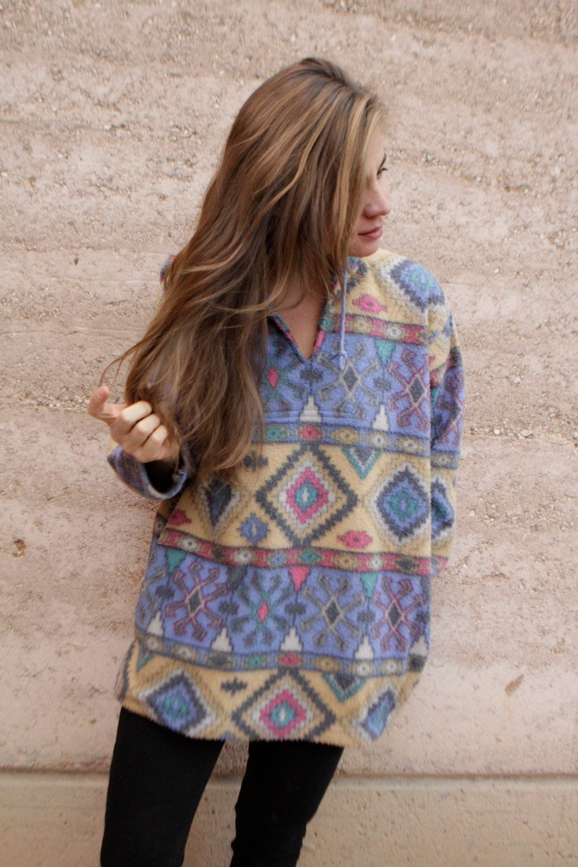S slouchy ikat style parka southwest oversize large fleece