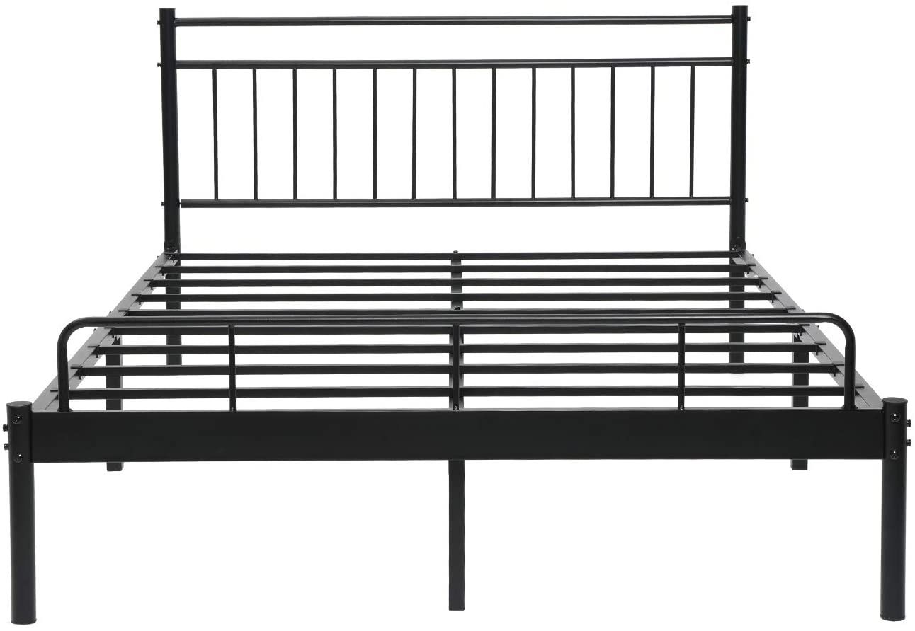 Alecono Metal Bed Frame Full Size Platform Beds With Lined Shaped Headboard Black Home Kitchen Fur Full Metal Bed Frame Metal Beds Double Bed Frame Metal Black metal bed frame full