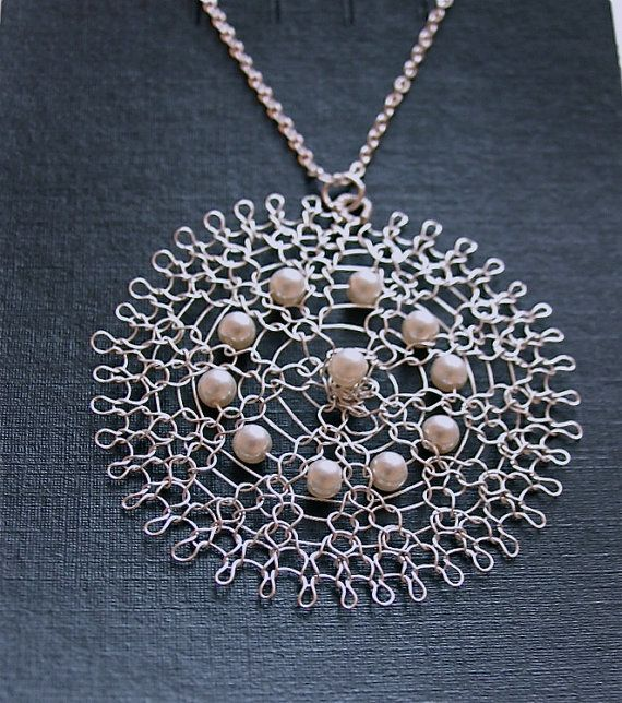 Bridal pendant. Wire crochet pendant with Swarovski by KvinTal, $30.00