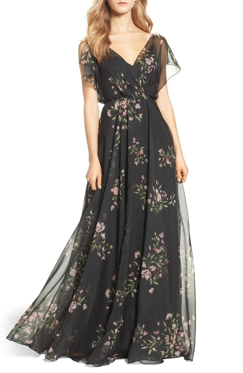 Cassie flutter sleeve surplice gown main color black cinnamon