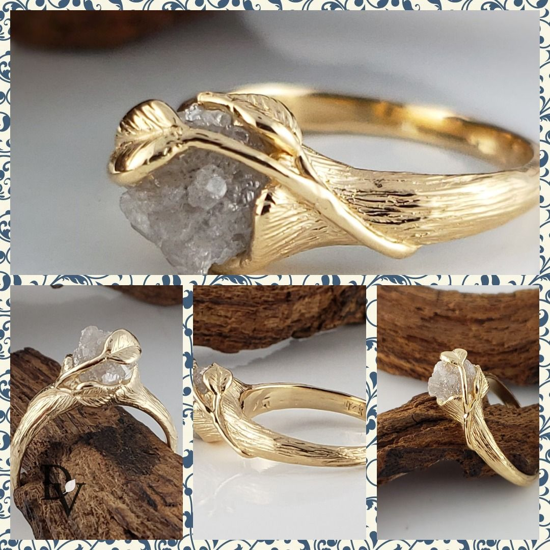 Leaf Vine Twig Engagement Ring With A Rough Uncut Diamond Etsy Twig Engagement Ring Wedding Ring Sets Raw Diamond Engagement Rings