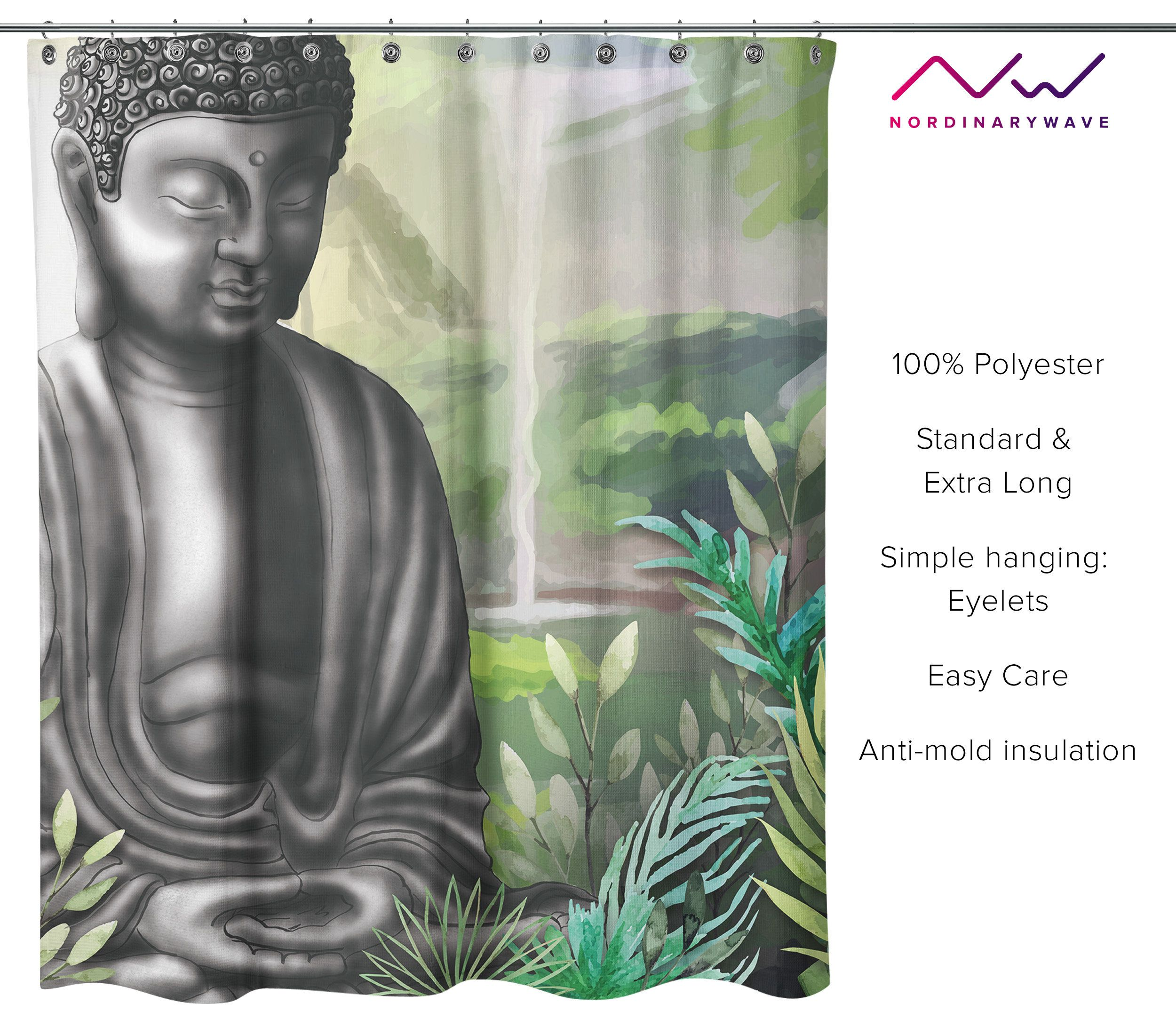 Buddha Fabic Shower Curtain Clear Bathroom Decor Meditation
