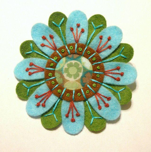Felt And Fabric Embroidered Flower Brooch Flower Brooch Felting
