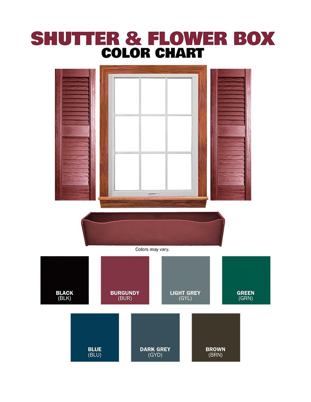 Shutter & Flower Box Color Chart | Solid Stained Buildings ...