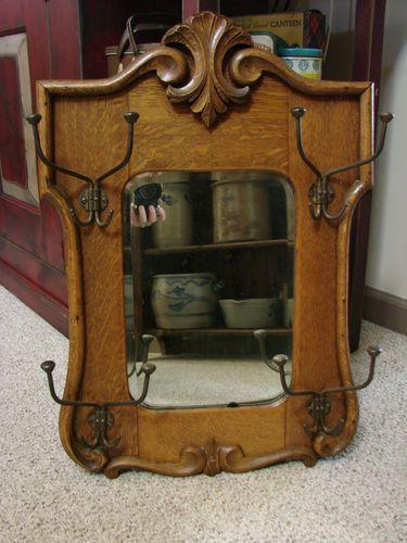 Antique Hall Tree Tiger Oak Mirror Hand Carved Multi Hooked Antique Oak Furniture Vintage Furniture Victorian Interior