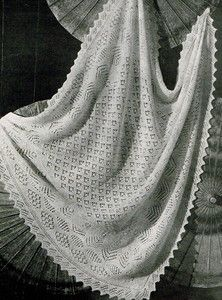 Vintage Knitting pattern-shetland lace baby christening shawl,2 ply,free UK p...