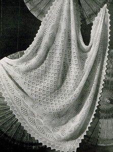 Vintage Knitting pattern-shetland lace baby christening ...