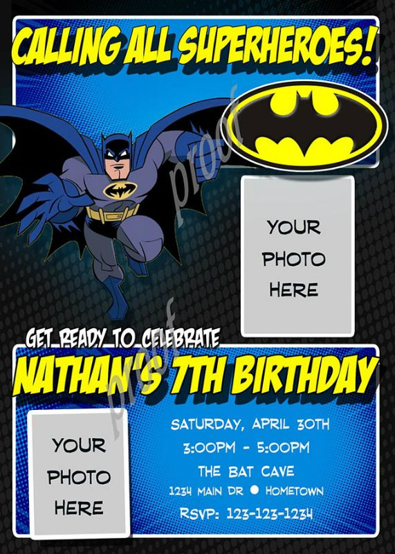 Personalized Batman Birthday Photo Party Invitations Need Fast With Our DIY Printing Option Youll Have Your Files Today