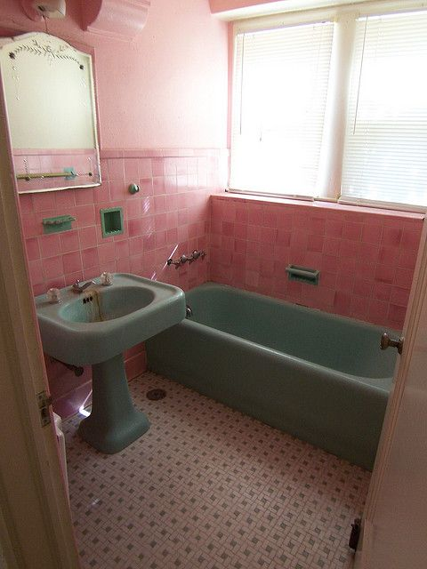 Photo of Vintage Pink Tile Bathroom from 1920's