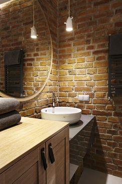 Ceglana ściana W łazience łazienka W 2019 Ceglane ściany
